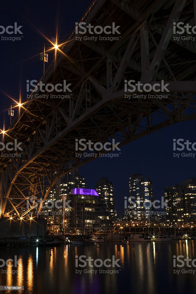 Granville Street Bridge at night - Vancouver, BC royalty-free stock photo