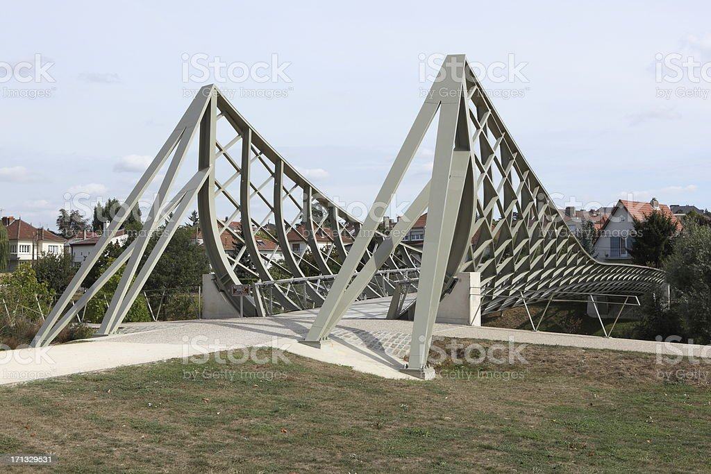 Graoully footbridge in Metz, France stock photo