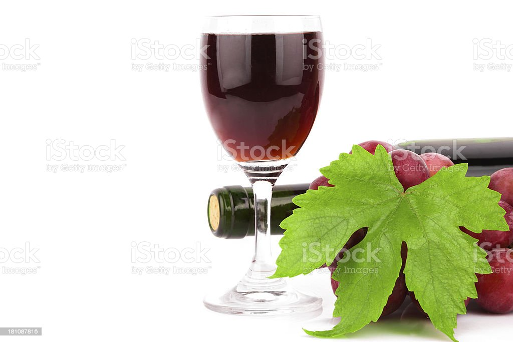 grape and Red Wine isolated on white background stock photo