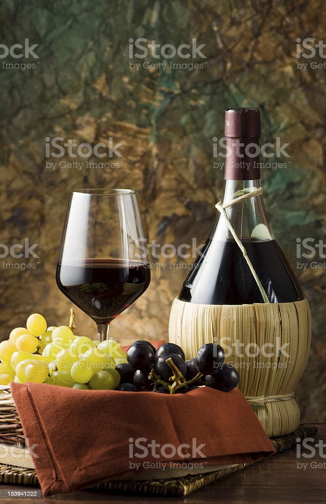 Grape, bottle and glass of wine. royalty-free stock photo