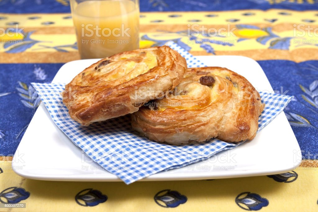 pain aux raisin stock photo