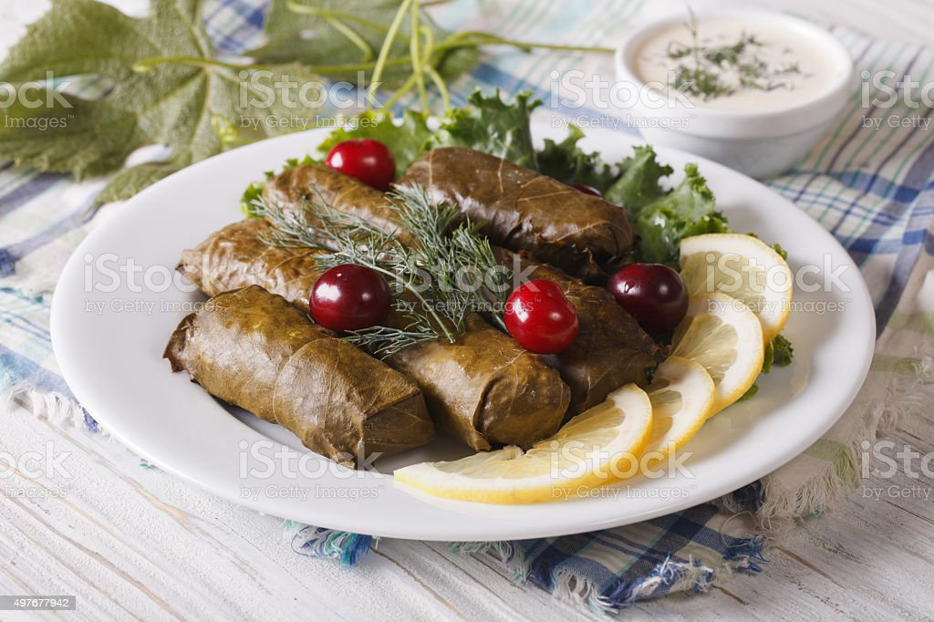 grape leaves stuffed with meat and rice on plate. horizontal stock photo