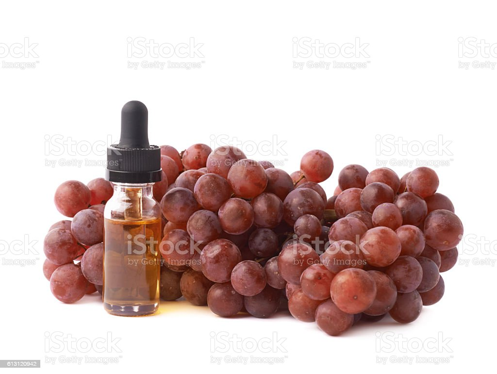 Grape seed oil essence composition isolated stock photo