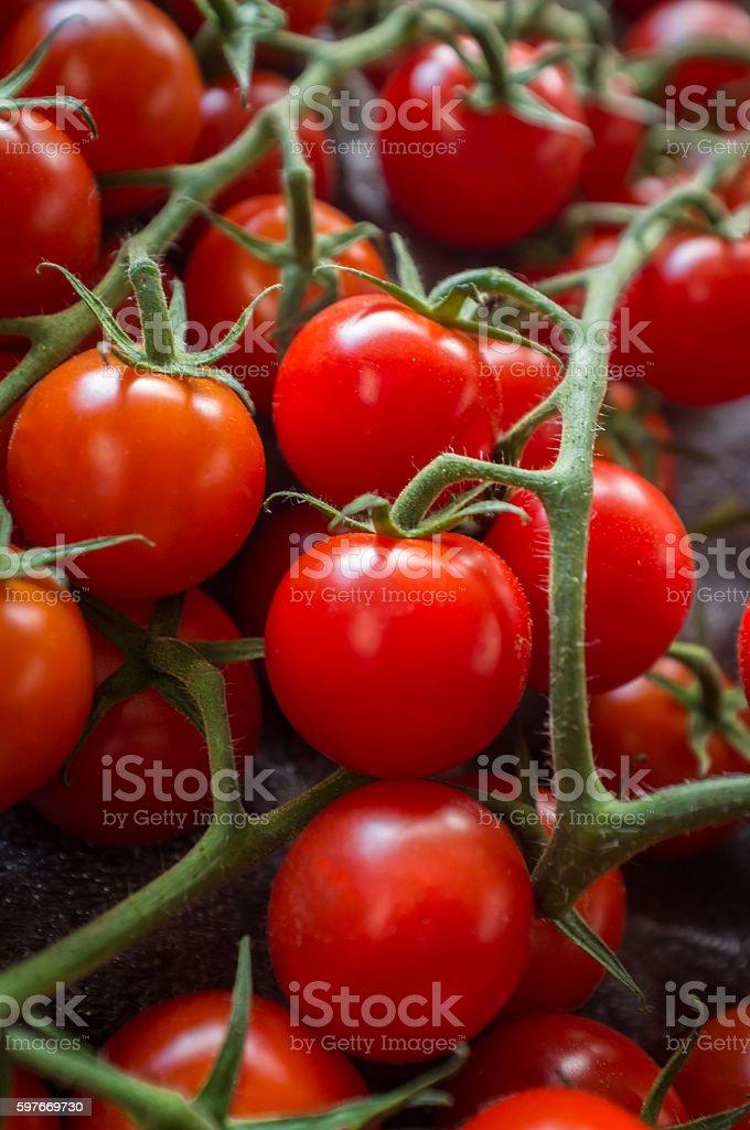 Grape Tomatoes Vine stock photo