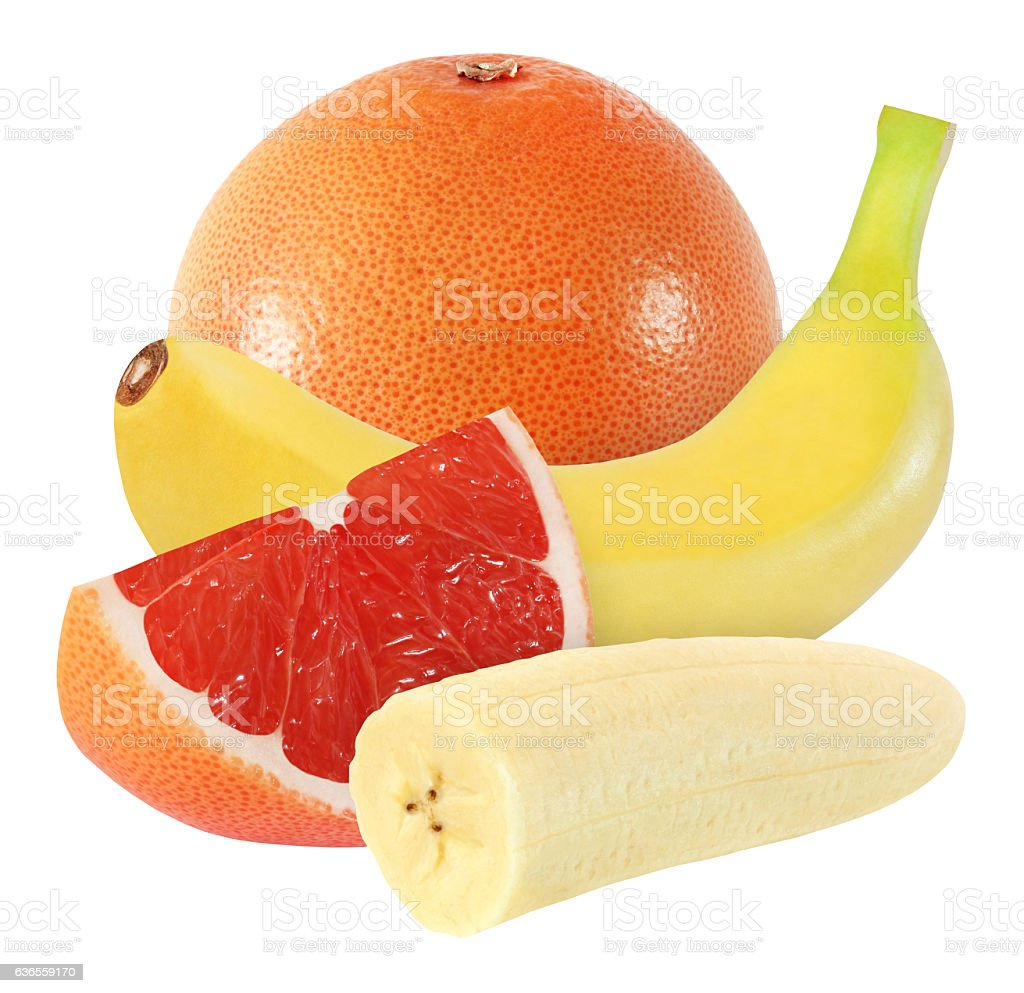 grapefruit and banana isolated on white background with clipping path stock photo