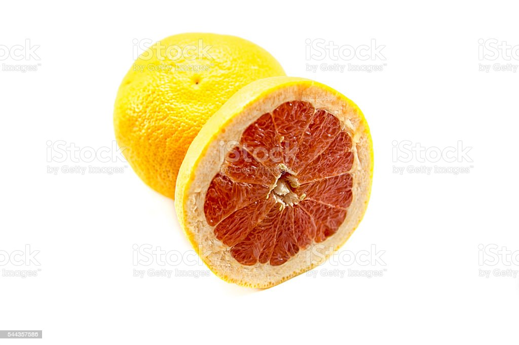 grapefruit citrus fruit isolated on white with clipping path stock photo