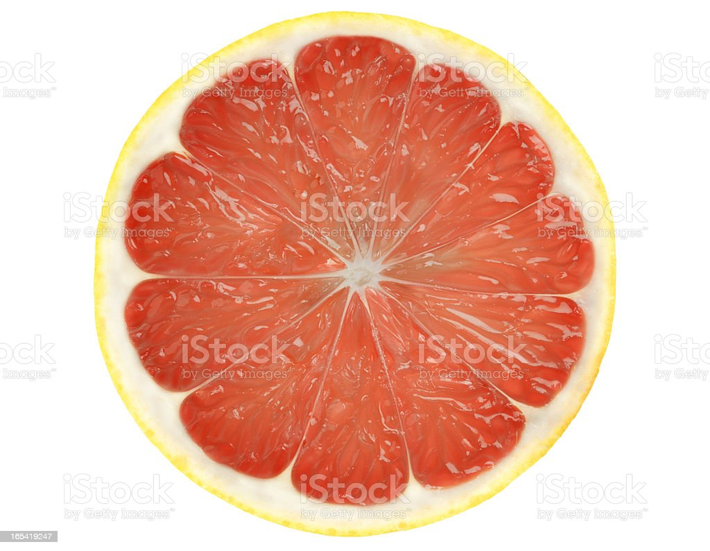 Grapefruit slice isolated on white background with Clipping Path. stock photo