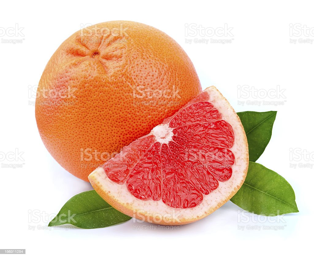 Grapefruit with leaves royalty-free stock photo