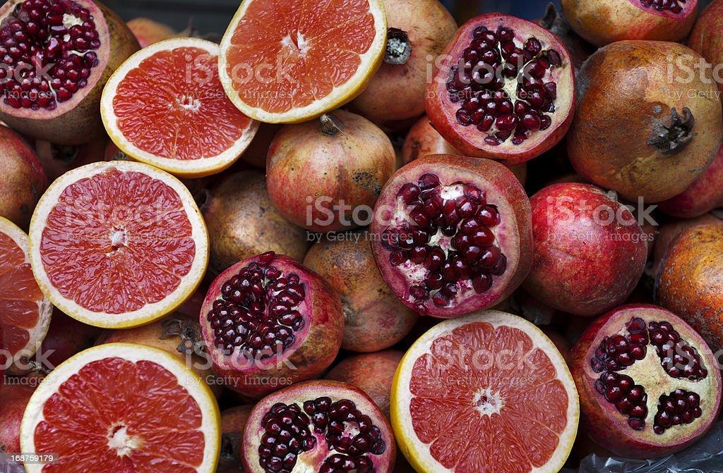 Grapefruits and pomegranates. royalty-free stock photo