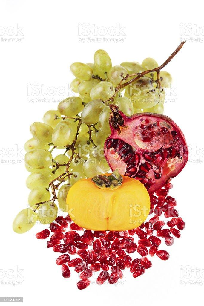 Winogron, granatu i Kaki zbiór zdjęć royalty-free