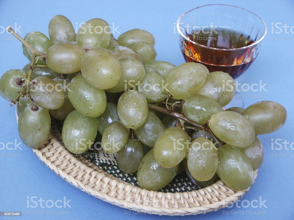 grapes and cognac royalty-free stock photo