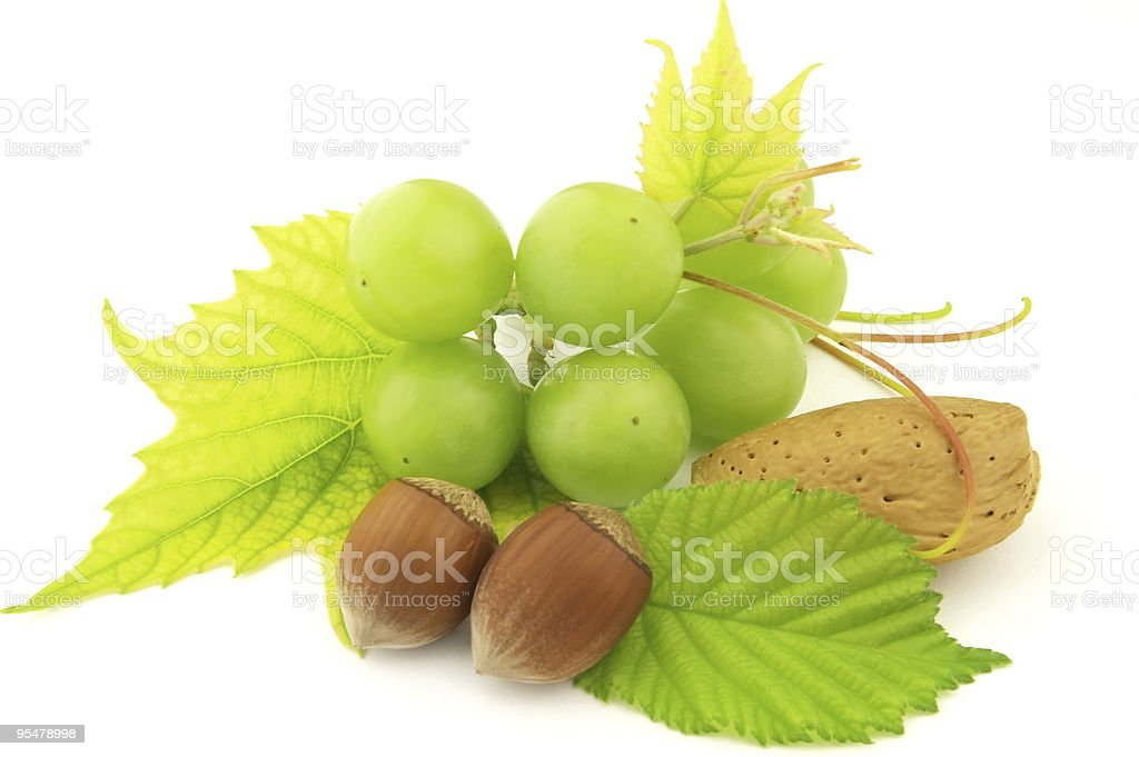 Grapes and nuts royalty-free stock photo