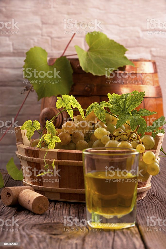 Grapes and wines royalty-free stock photo