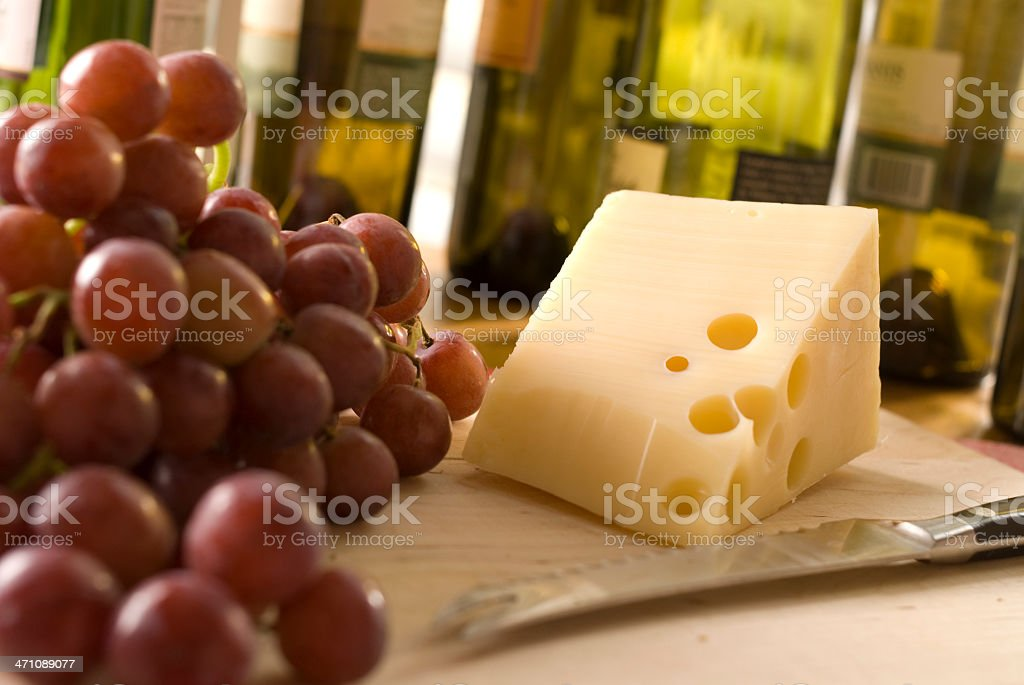 grapes, cheese, and wine royalty-free stock photo