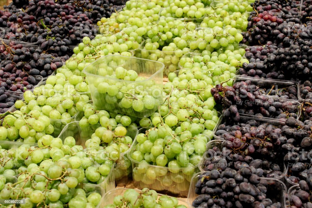 grapes in the supermarket stock photo