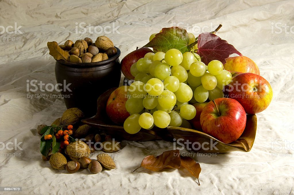 Grapes nuts and apples stock photo