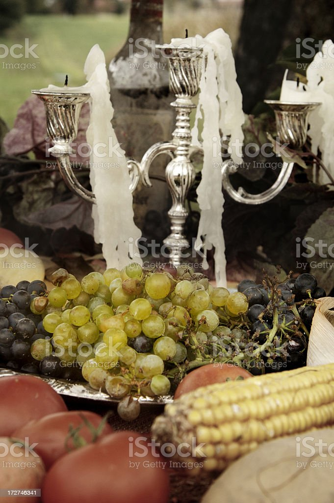 grapes on a picnic table stock photo