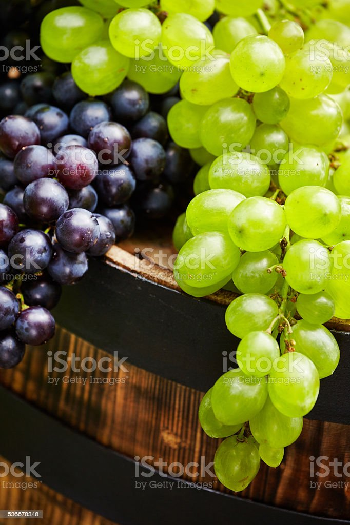 Grapes on wooden barrel stock photo