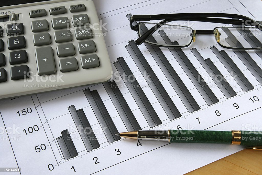graph and glasses royalty-free stock photo