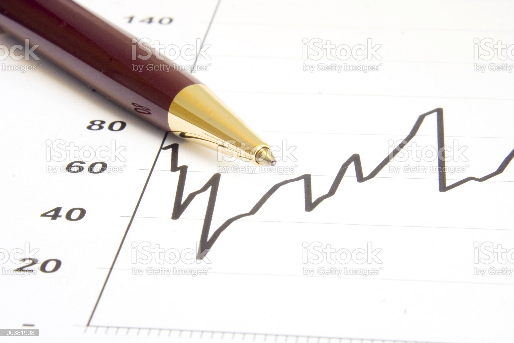 Graph and Pen Closeup royalty-free stock photo