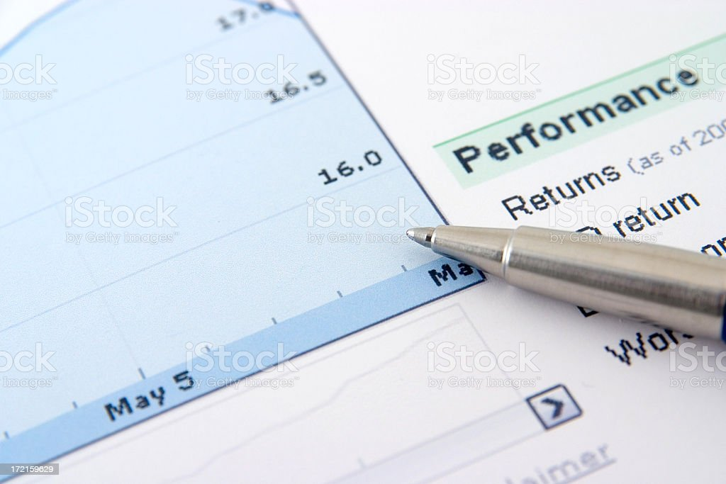 Graph and pen royalty-free stock photo