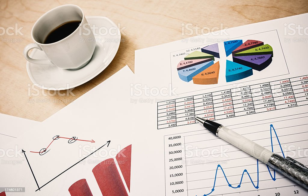 Graph and stats on a desk royalty-free stock photo
