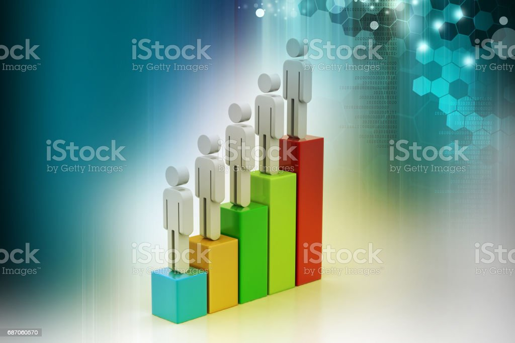 Graph and team moving to success stock photo