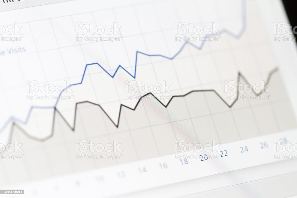 Graph Chart on Monitor Screen stock photo
