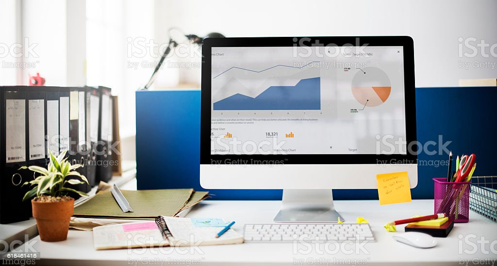 Graph Growth Success Strategy Marketing Computer Concept stock photo