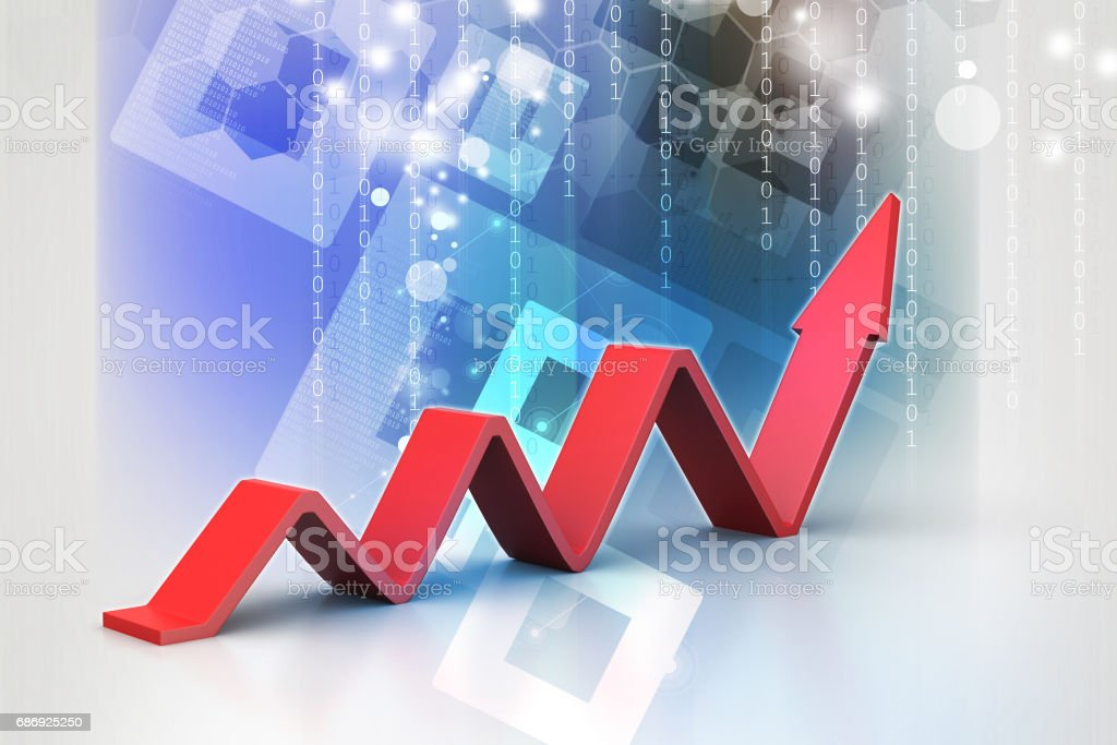 Graph moving to success stock photo