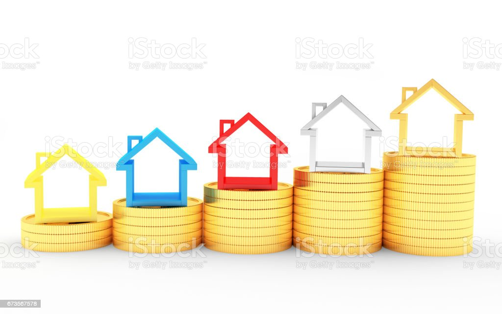 Graph of colorful houses icons on golden coins stock photo