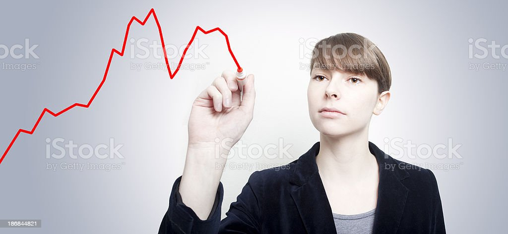 Graph of Double Dip Recession stock photo