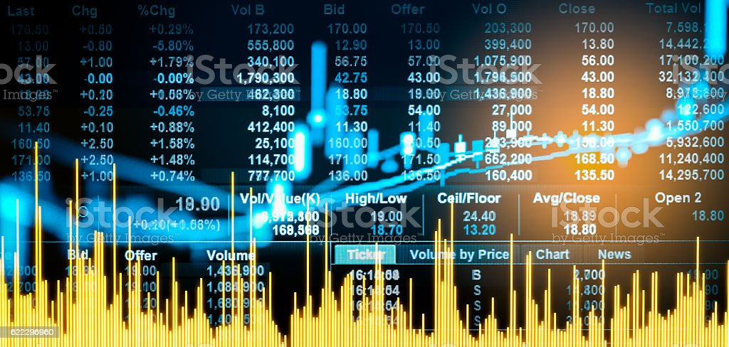 Graph of stock market data and financial with stock analysis stock photo