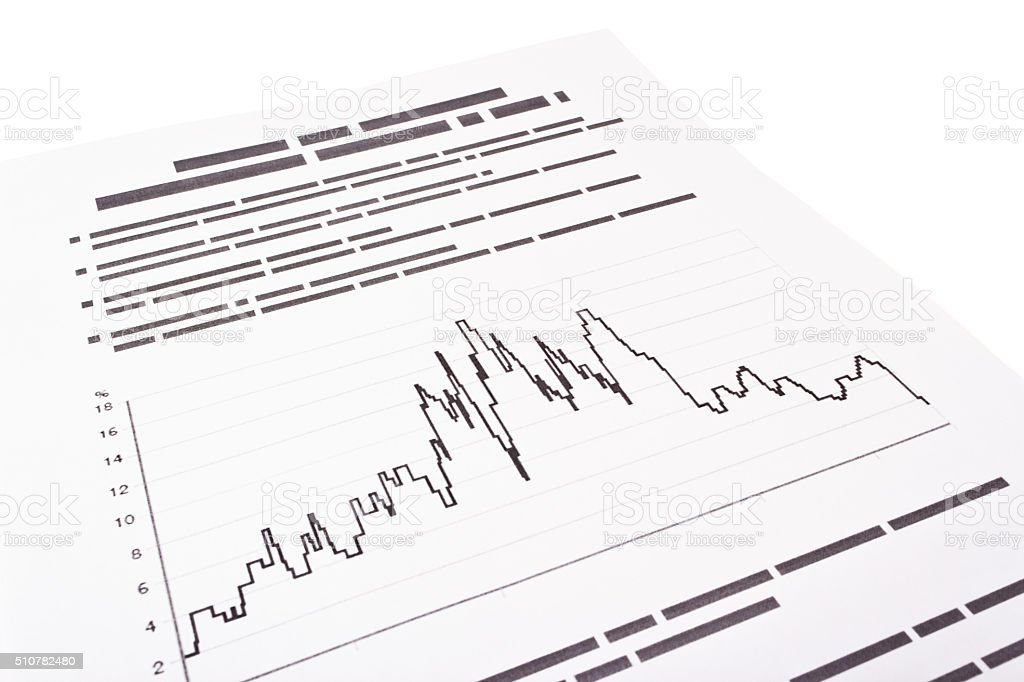 graph on the page with text stock photo