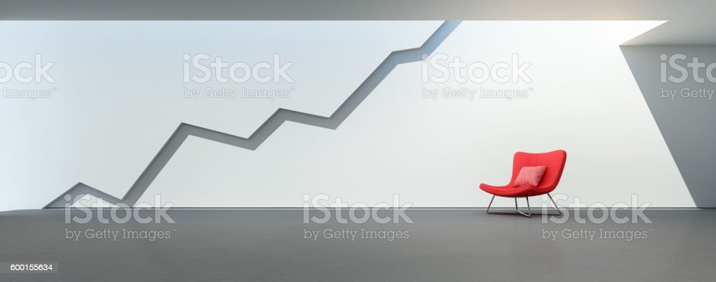 Graph on wall, Abstract architecture background in successful business concept stock photo