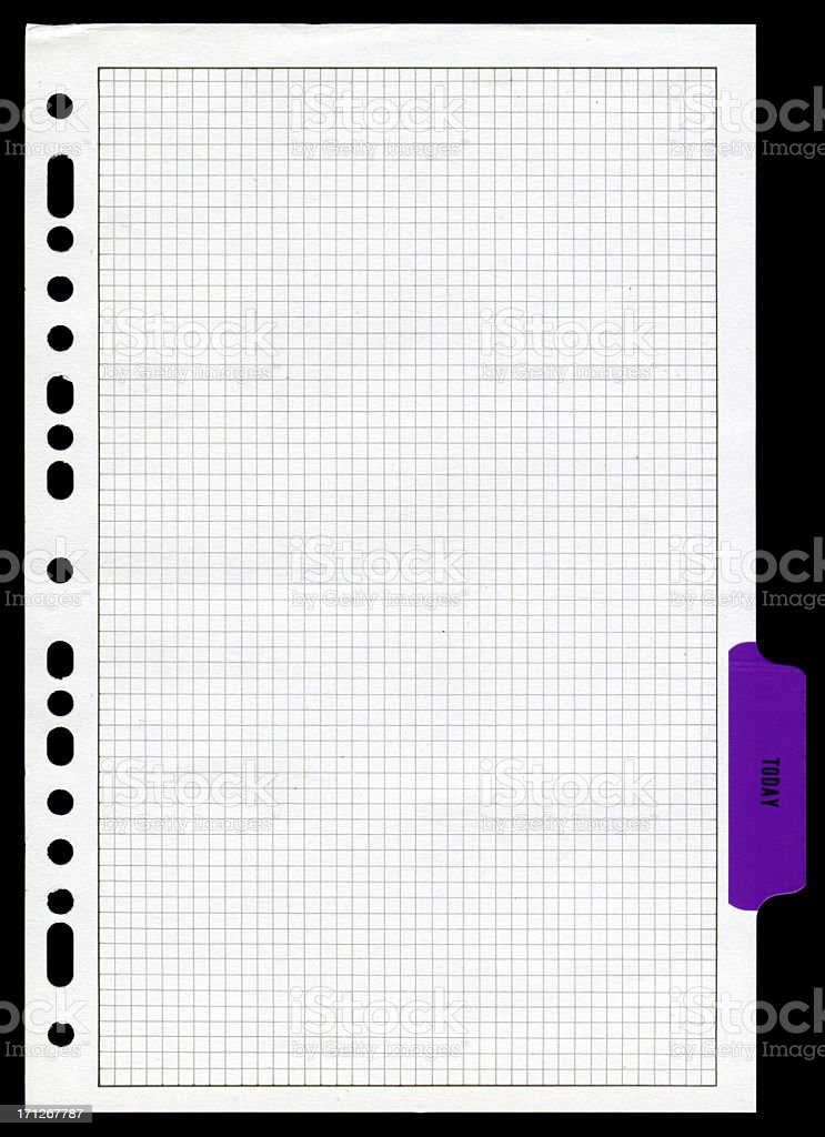 Graph paper page textured isolated on white background royalty-free stock photo