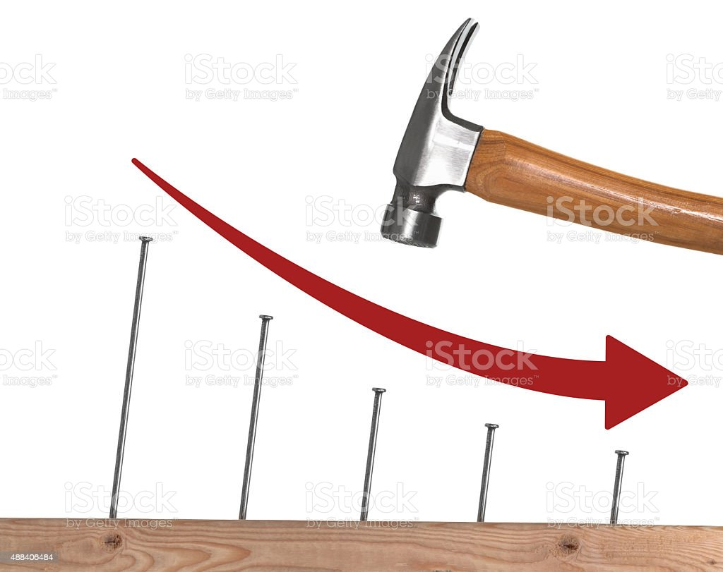 Graph showing construction or building going down stock photo