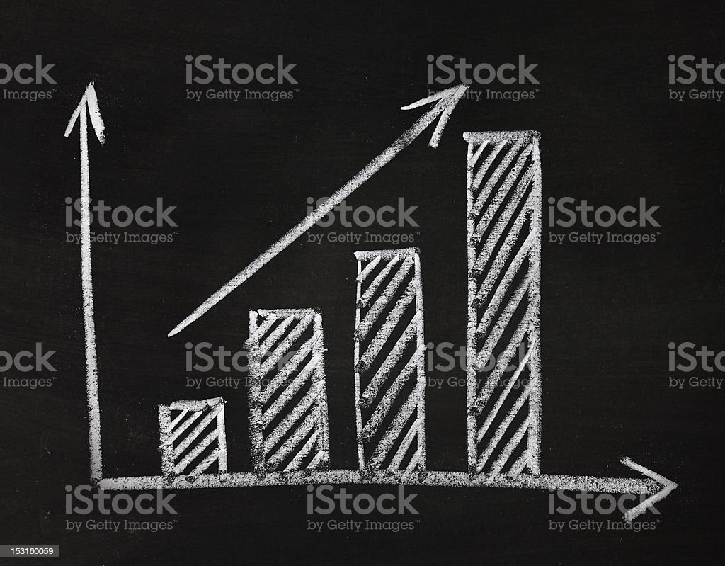 graph showing rise in profits or earnings stock photo