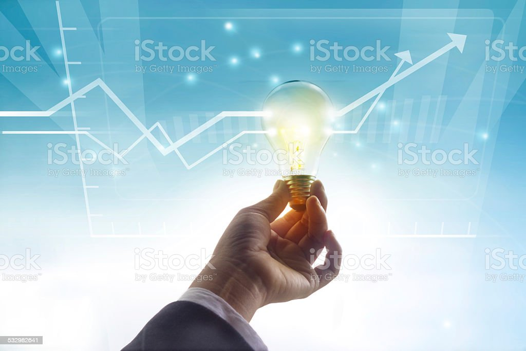 graph statistics higher past idea, light bulb symbol concept stock photo
