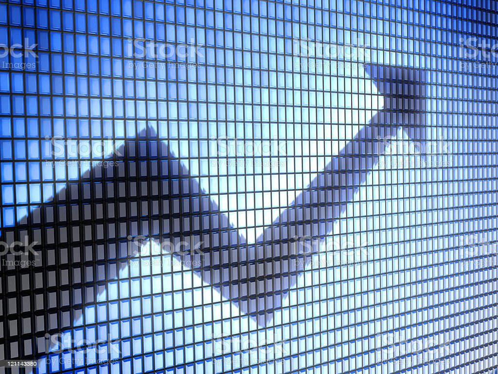 graph with an arrow pointing upward stock photo