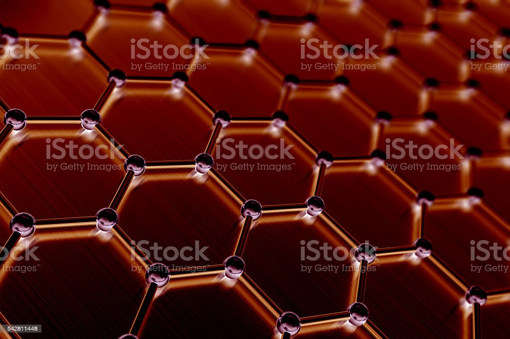 Graphene atomic structure, nanotechnology background. 3d illustration stock photo