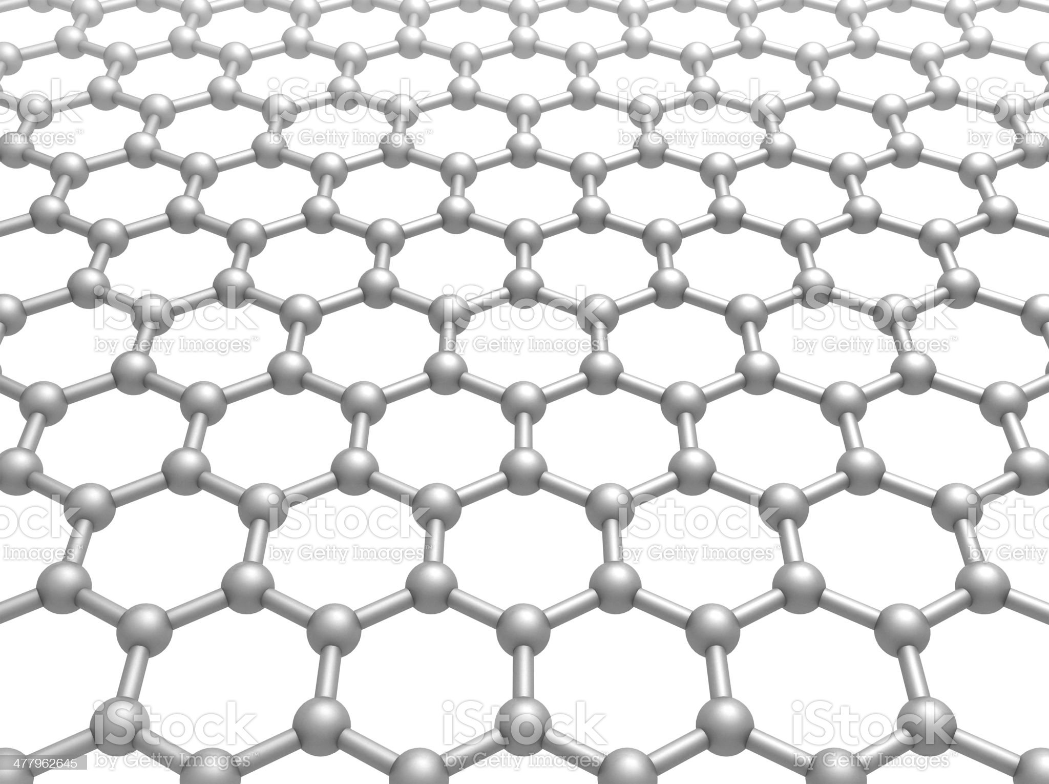 Graphene layer structure schematic model. 3d illustration isolated on white royalty-free stock photo