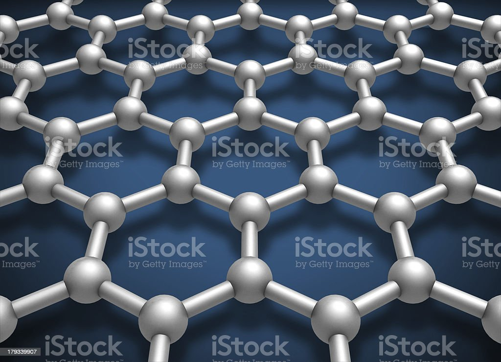 Graphene layer structure schematic model. 3d render illustration royalty-free stock photo