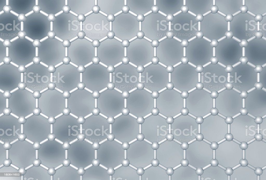 Graphene molecular layer structure schematic model. Frontal 3d render illustration royalty-free stock photo