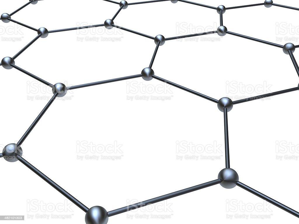 Graphene molecule structure fragmen stock photo