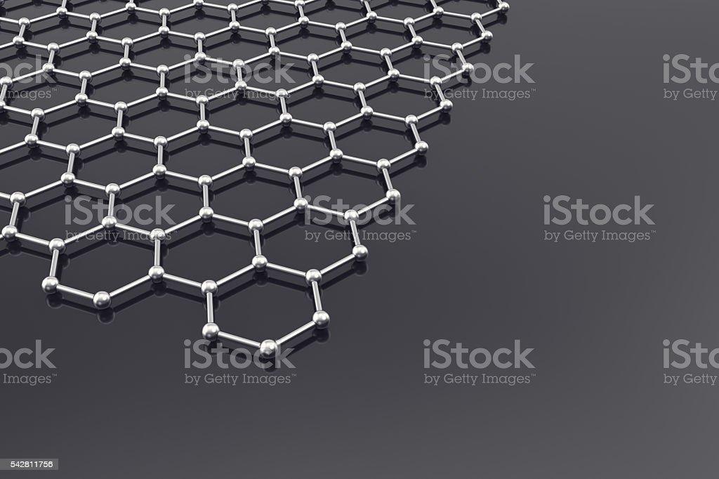 Graphene Surface, nanotechnology background. 3d illustration stock photo