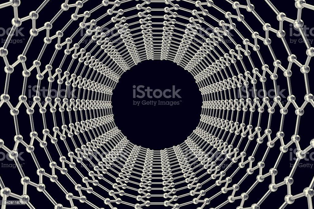 Graphene tube on a black background. 3d illustration stock photo