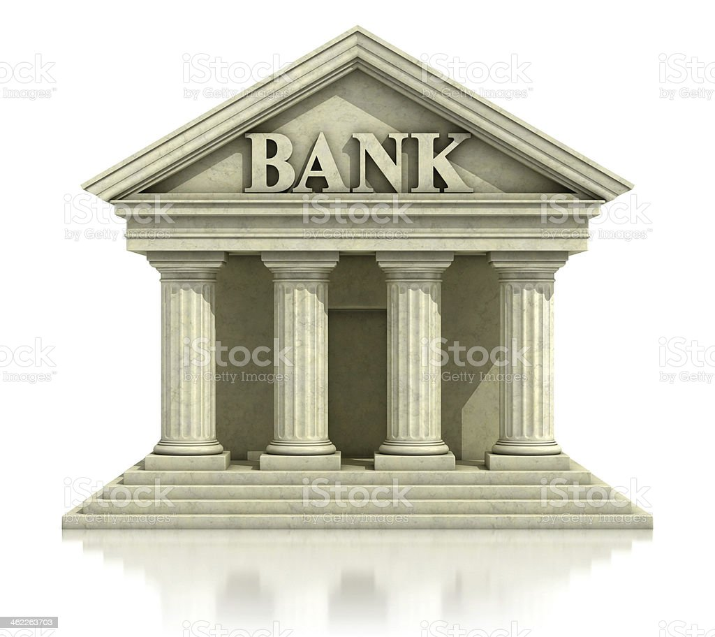 Graphic 3D icon of classic bank facade on white background stock photo