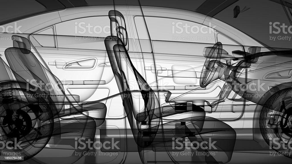 Graphic 3D model of a sedan car stock photo