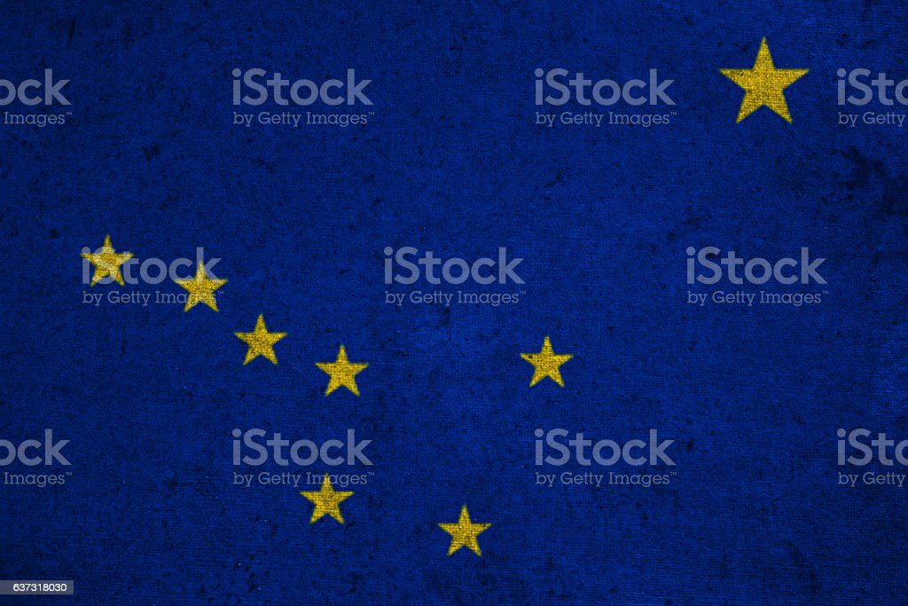 graphic american state grunge flag of alaska stock photo